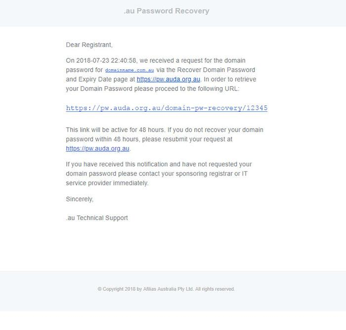screenshot of password recovery email on affilias website