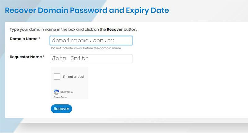 screenshot of password recovery tool on affilias website