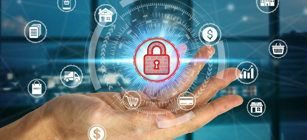 hand holding padlock icon with links to images representing business, communities and infrastructure