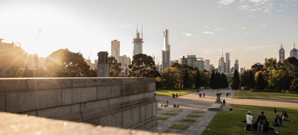 Melbourne city view from park