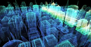 Futuristic holographic city resembling cyberspace